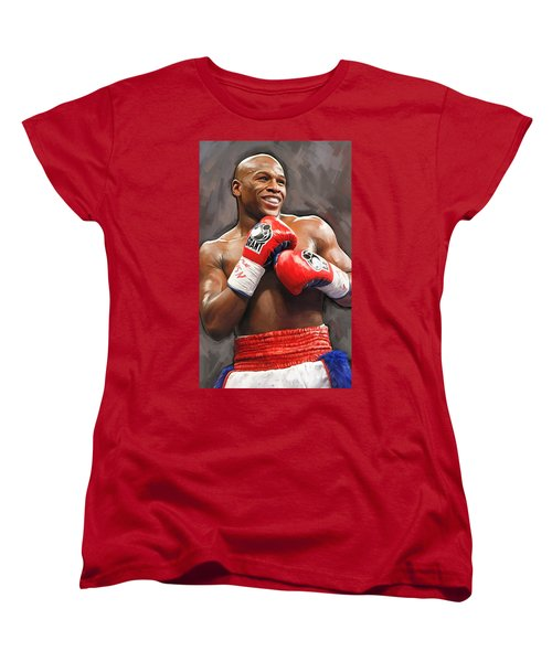 Women's T-Shirt (Standard Cut) featuring the painting Floyd Mayweather Artwork by Sheraz A