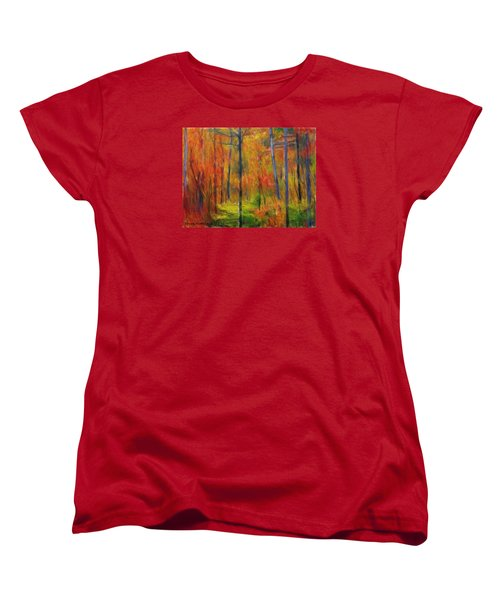 Women's T-Shirt (Standard Cut) featuring the painting Forest In The Fall by Bruce Nutting