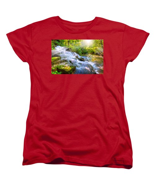 Forest Stream And Waterfall Women's T-Shirt (Standard Cut) by Alexey Stiop