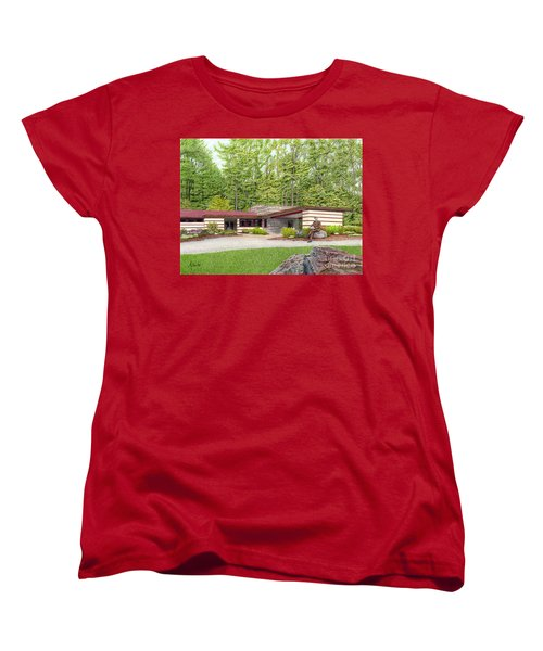 Women's T-Shirt (Standard Cut) featuring the painting Frank Lloyd Wright At Duncan House by Albert Puskaric