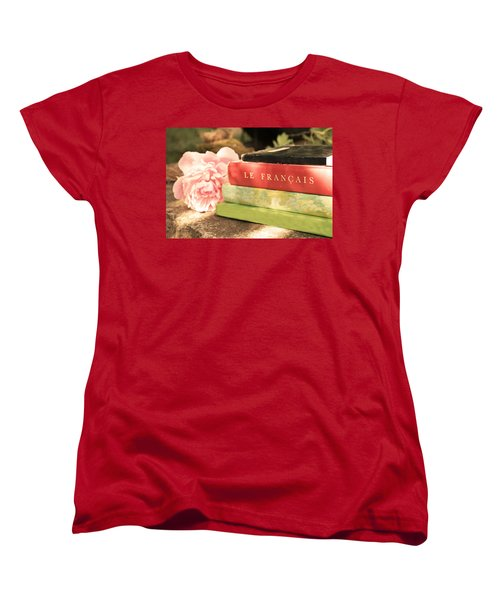 Women's T-Shirt (Standard Cut) featuring the photograph French Books And Peony by Brooke T Ryan