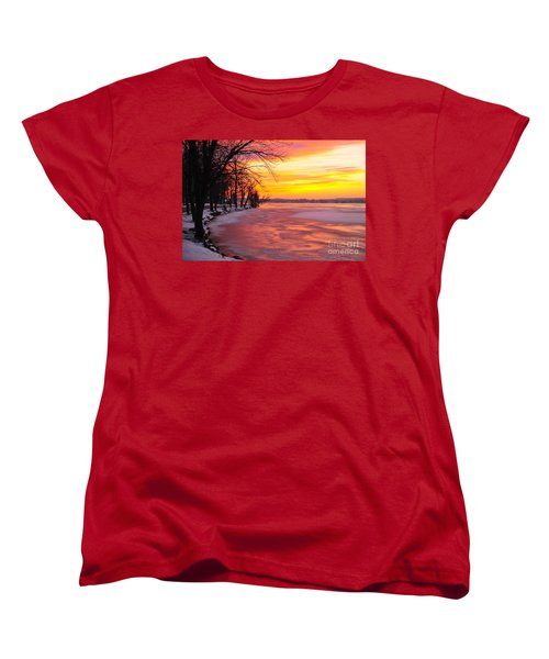 Women's T-Shirt (Standard Cut) featuring the photograph Frozen Dawn At Lake Cadillac  by Terri Gostola