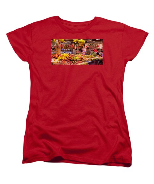 Fruits At Market Stalls, La Boqueria Women's T-Shirt (Standard Cut) by Panoramic Images