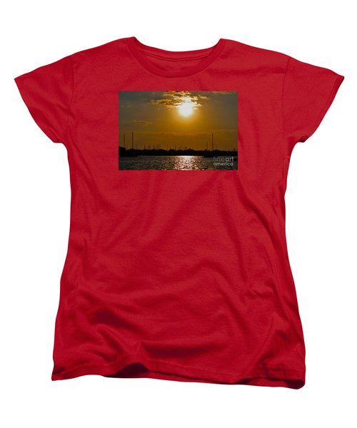 Women's T-Shirt (Standard Cut) featuring the photograph Ft. Pierce Florida Docks At Dusk by Janice Rae Pariza