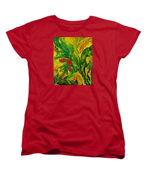 Women's T-Shirt (Standard Cut) featuring the painting Garden Series No.2 by Teresa Wegrzyn