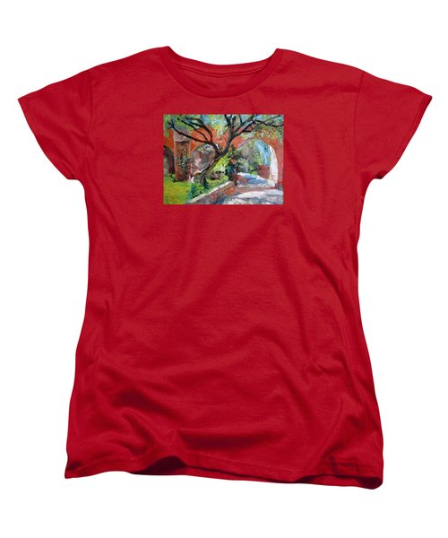 Women's T-Shirt (Standard Cut) featuring the painting Gate by Jiemin g Wang