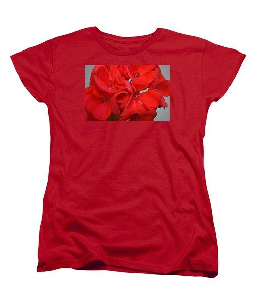 Geranium Red Women's T-Shirt (Standard Cut) by Maria Urso