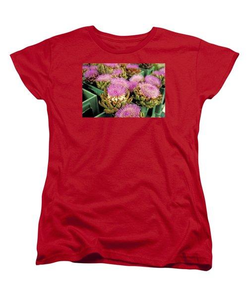 Germany Aachen Munsterplatz Artichoke Flowers Women's T-Shirt (Standard Cut) by Anonymous