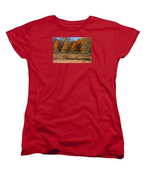 Women's T-Shirt (Standard Cut) featuring the photograph Gettysburg At Rest - Autumn Looking Towards The J. Weikert Farm by Michael Mazaika