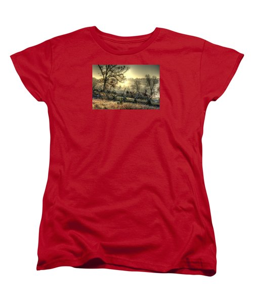 Women's T-Shirt (Standard Cut) featuring the photograph Gettysburg At Rest - Sunrise Over Northern Portion Of Little Round Top by Michael Mazaika