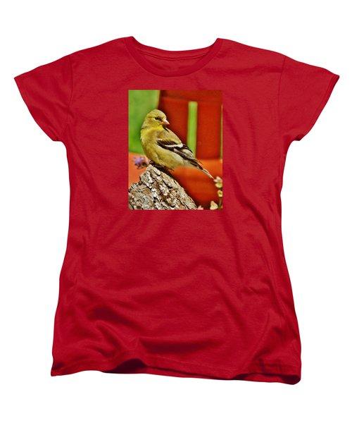 Women's T-Shirt (Standard Cut) featuring the photograph Girlie Goldfinch by VLee Watson