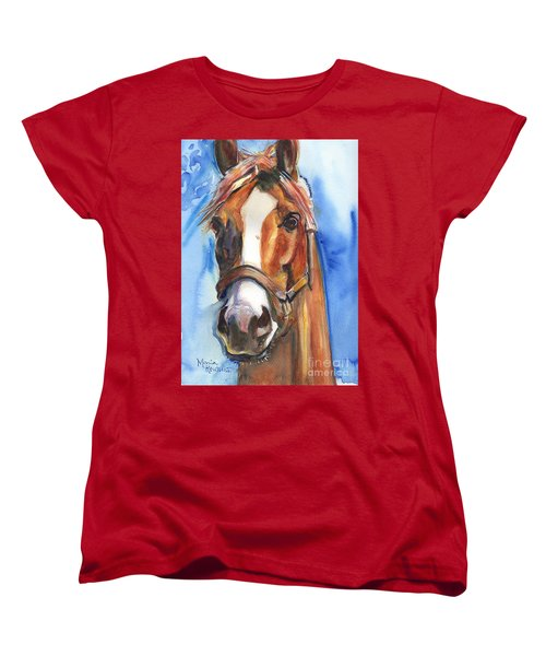 Horse Painting Of California Chrome Go Chrome Women's T-Shirt (Standard Cut) by Maria's Watercolor