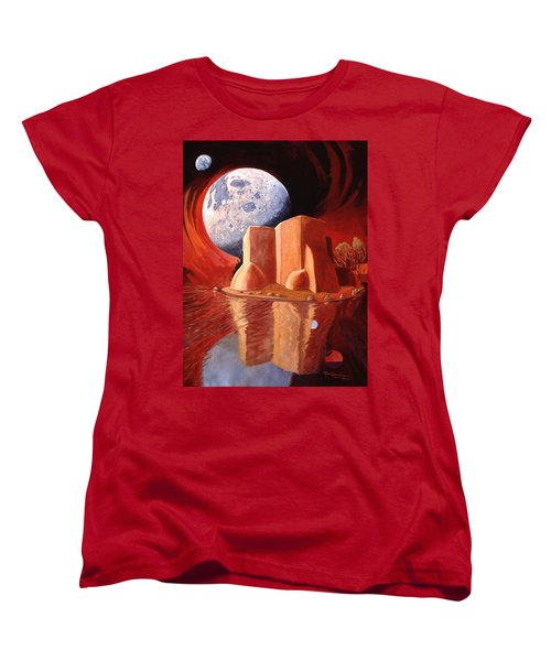 Women's T-Shirt (Standard Cut) featuring the painting God Is In The Moon by Art James West