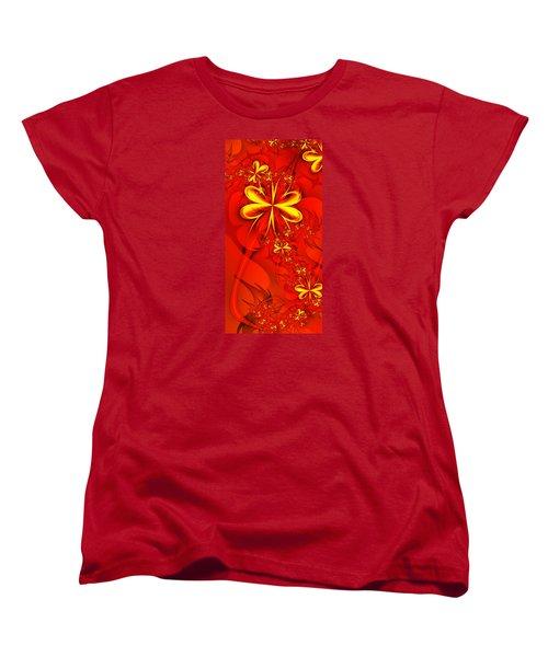 Gold Flowers Women's T-Shirt (Standard Cut) by Lena Auxier