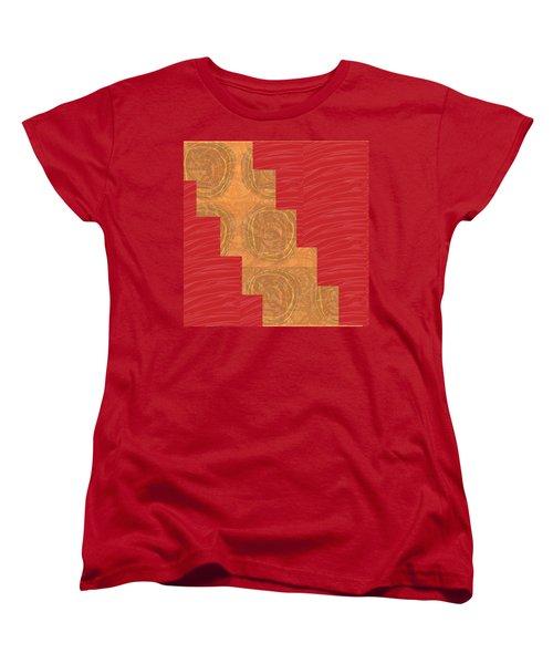 Women's T-Shirt (Standard Cut) featuring the photograph Golden Circles Red Sparkle  by Navin Joshi