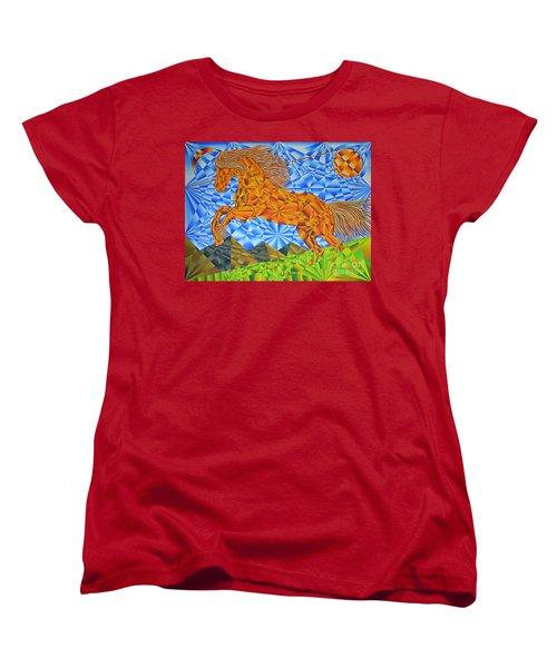 Women's T-Shirt (Standard Cut) featuring the painting Golden Horse Over The Bitterroot's by Joseph J Stevens
