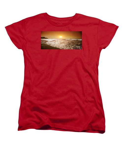 Ocean Women's T-Shirt (Standard Cut) featuring the photograph Golden Sunset by Aaron Berg