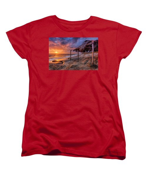 Golden Sunset The Surf Shack Women's T-Shirt (Standard Cut) by Peter Tellone