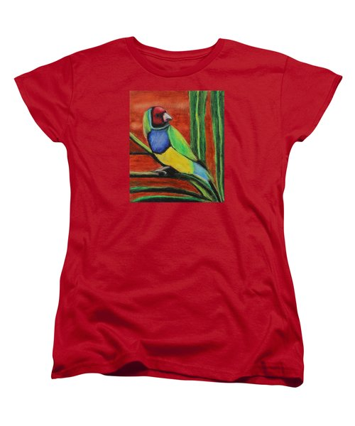 Women's T-Shirt (Standard Cut) featuring the painting Gouldian Finch by Jeanne Fischer