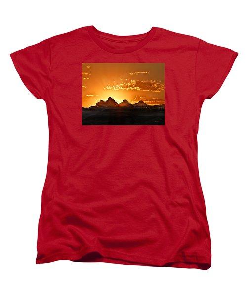 Grand Teton Sunrise Women's T-Shirt (Standard Cut) by Leland D Howard