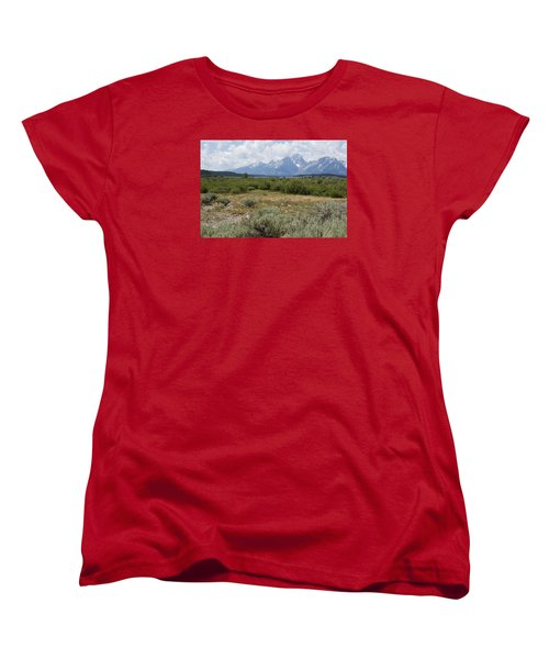 Grand Tetons From Willow Flats Women's T-Shirt (Standard Cut) by Belinda Greb