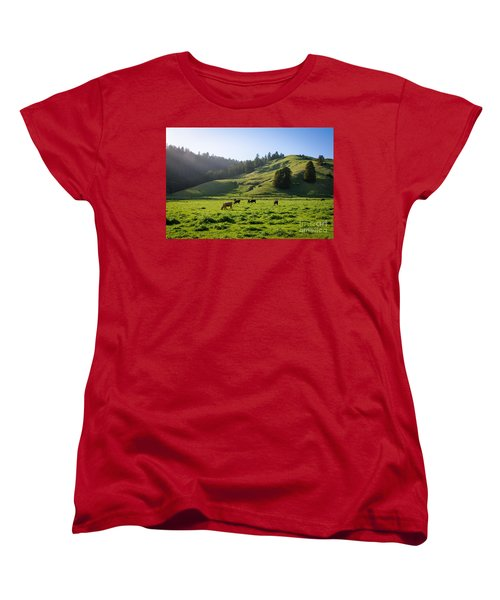 Women's T-Shirt (Standard Cut) featuring the photograph Grazing Hillside by CML Brown