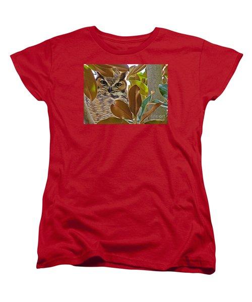 Women's T-Shirt (Standard Cut) featuring the photograph Great Horned Owl by Meghan at FireBonnet Art