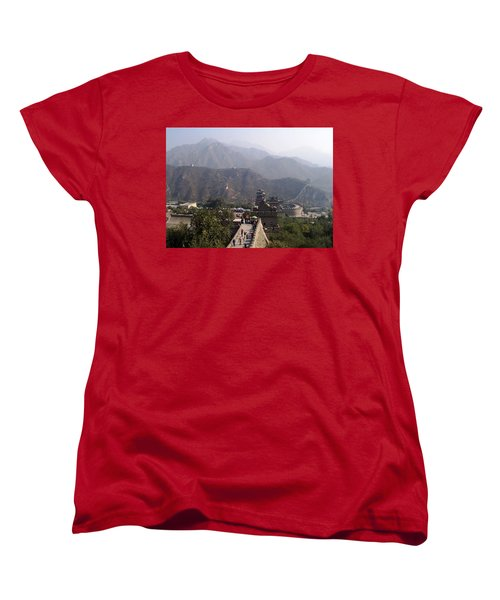 Great Wall Of China At Badaling Women's T-Shirt (Standard Cut) by Debbie Oppermann