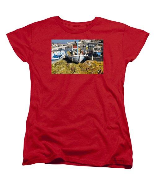 Greek Fishing Harbour Women's T-Shirt (Standard Cut) by Mike Santis