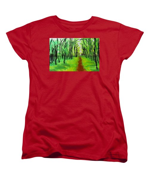 Women's T-Shirt (Standard Cut) featuring the painting Green Leaves by Marisela Mungia