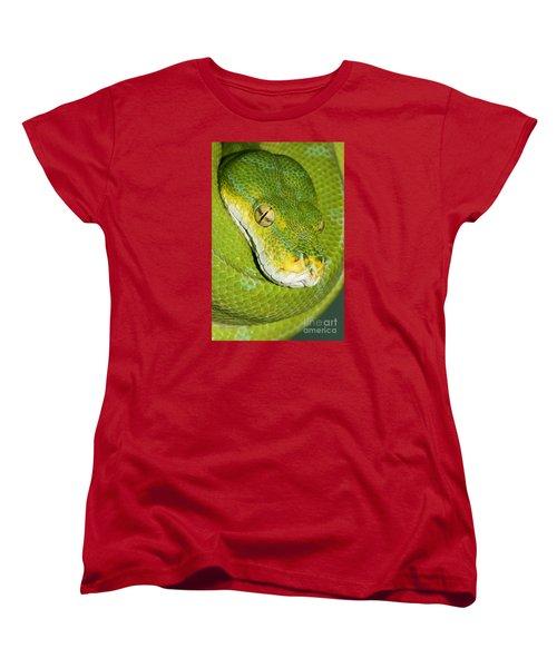 Women's T-Shirt (Standard Cut) featuring the photograph Green Tree Python #2 by Judy Whitton