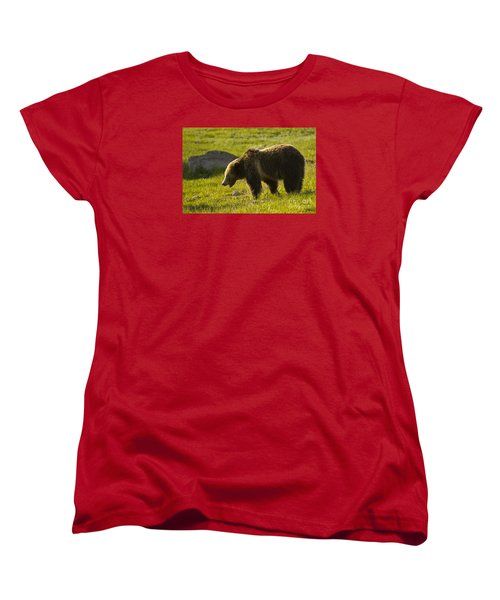 Grizzly Bear-signed-#4535 Women's T-Shirt (Standard Cut) by J L Woody Wooden
