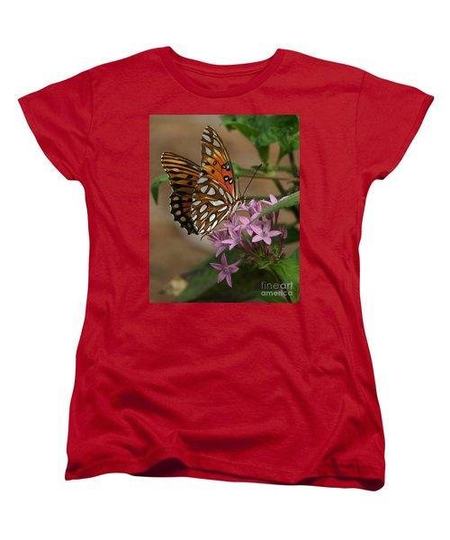 Gulf Fritillary Butterfly Women's T-Shirt (Standard Cut) by Liz Masoner
