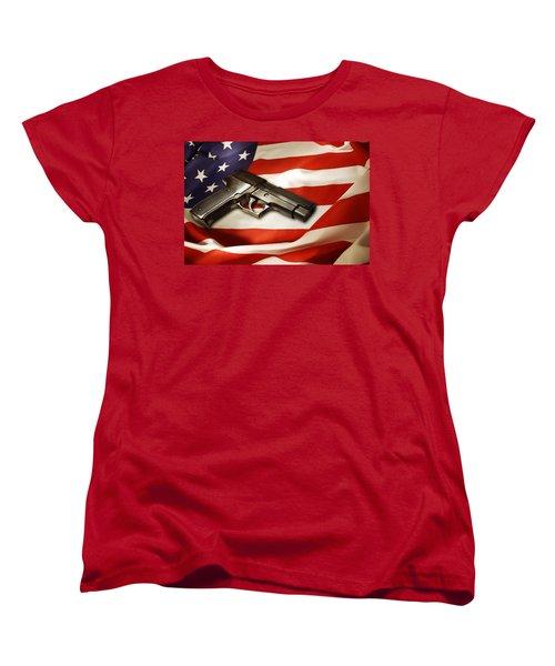Gun On Flag Women's T-Shirt (Standard Cut) by Les Cunliffe