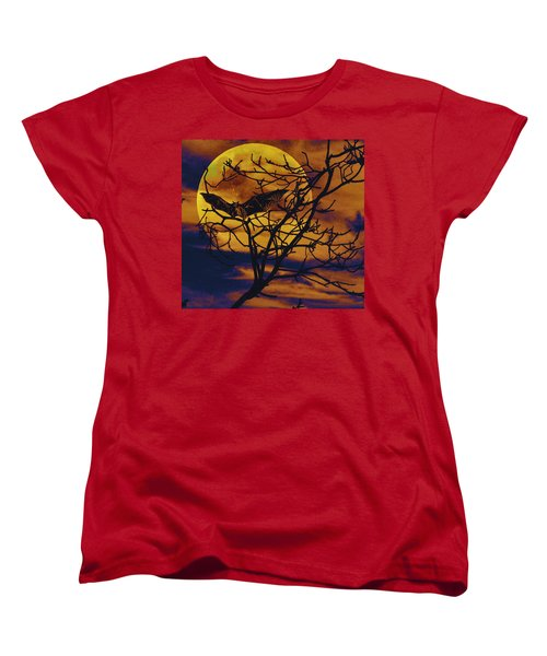 Women's T-Shirt (Standard Cut) featuring the painting Halloween Full Moon Terror by David Mckinney
