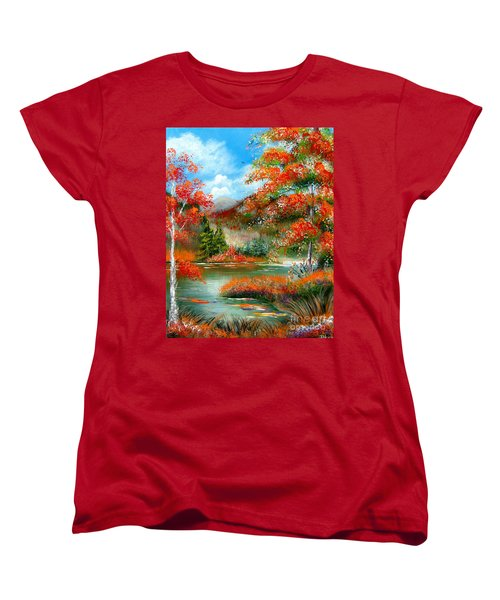 Women's T-Shirt (Standard Cut) featuring the painting Happy Ever After Autumn  by Patrice Torrillo