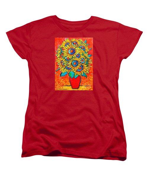 Happy Sunflowers Women's T-Shirt (Standard Cut) by Ana Maria Edulescu