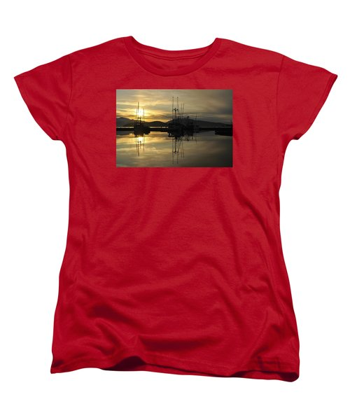 Women's T-Shirt (Standard Cut) featuring the photograph Harbor Sunset by Cathy Mahnke