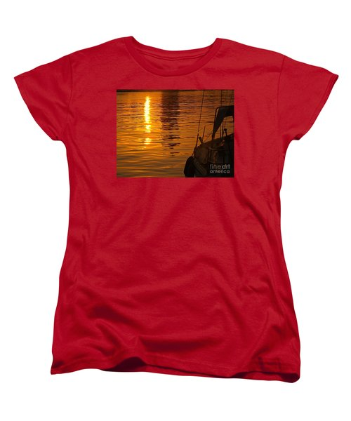 Women's T-Shirt (Standard Cut) featuring the photograph Harbour Sunset by Clare Bevan