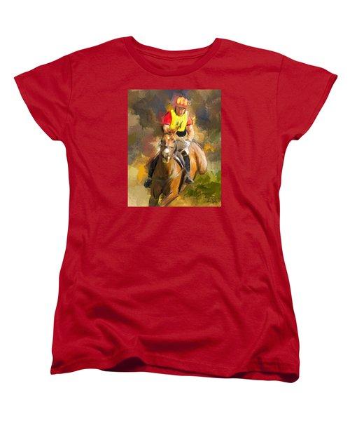 Women's T-Shirt (Standard Cut) featuring the painting Hard Left by Joan Davis