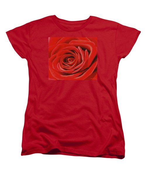 Women's T-Shirt (Standard Cut) featuring the painting Heart Of A Red Rose by Sophia Schmierer