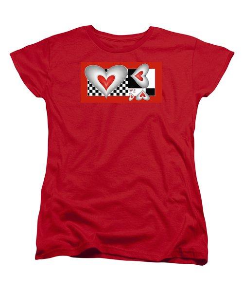 Women's T-Shirt (Standard Cut) featuring the digital art Hearts On A Chessboard by Gabiw Art