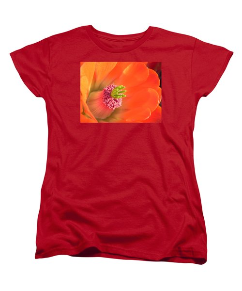 Women's T-Shirt (Standard Cut) featuring the photograph Hedgehog Cactus Flower by Deb Halloran
