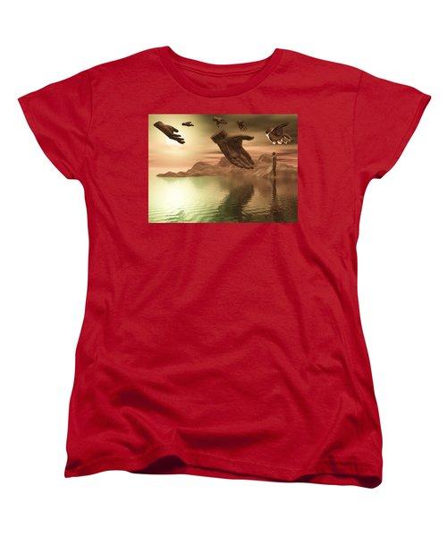 Women's T-Shirt (Standard Cut) featuring the digital art Helping Hands by John Alexander