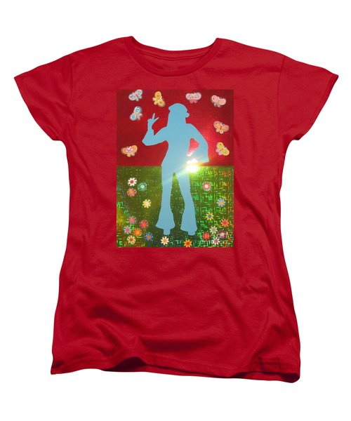 Women's T-Shirt (Standard Cut) featuring the mixed media Hippie Girl by Jeepee Aero