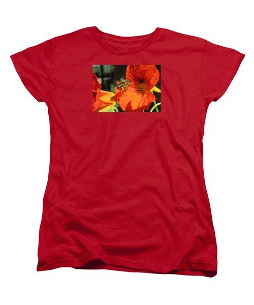 Honeybee Entering Nasturtium Women's T-Shirt (Standard Cut) by Lucinda VanVleck