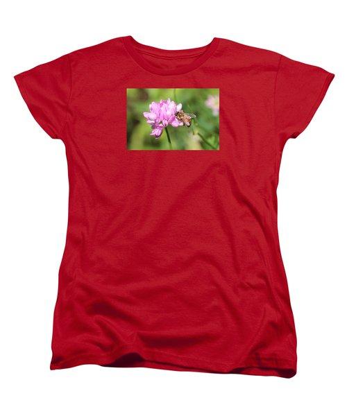 Honeybee On Crown Vetch Women's T-Shirt (Standard Cut) by Lucinda VanVleck