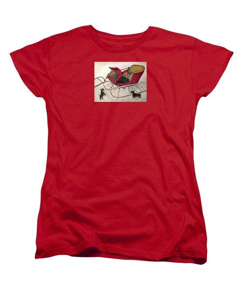 Hoping For A Sleigh Ride Women's T-Shirt (Standard Cut) by Angela Davies