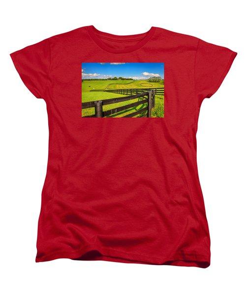 Horse Farm Fences Women's T-Shirt (Standard Cut) by Alexey Stiop