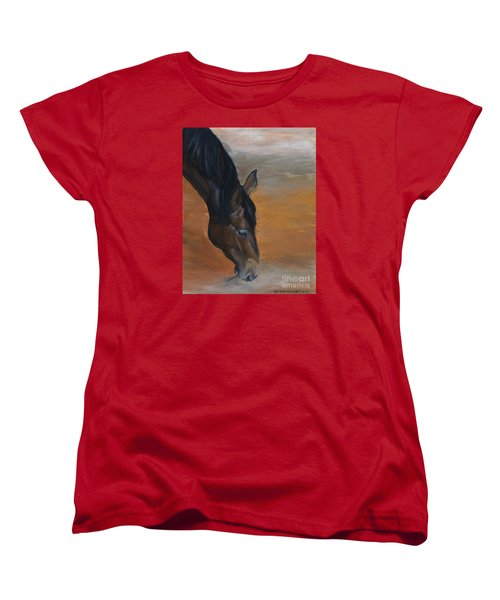 Women's T-Shirt (Standard Cut) featuring the painting horse - Lily by Go Van Kampen